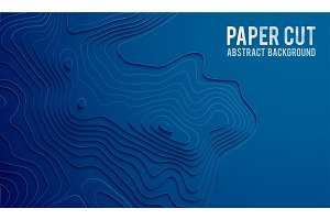 Paper cut banner concept. Paper carve blue gradient for card poster brochure flyer design in blue colors. 3d abstract background