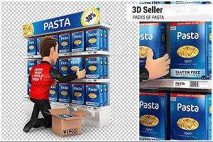 3D Seller Arranging Packs of Pasta