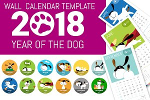 Cute 2018 Dog Wall Calendar Template
