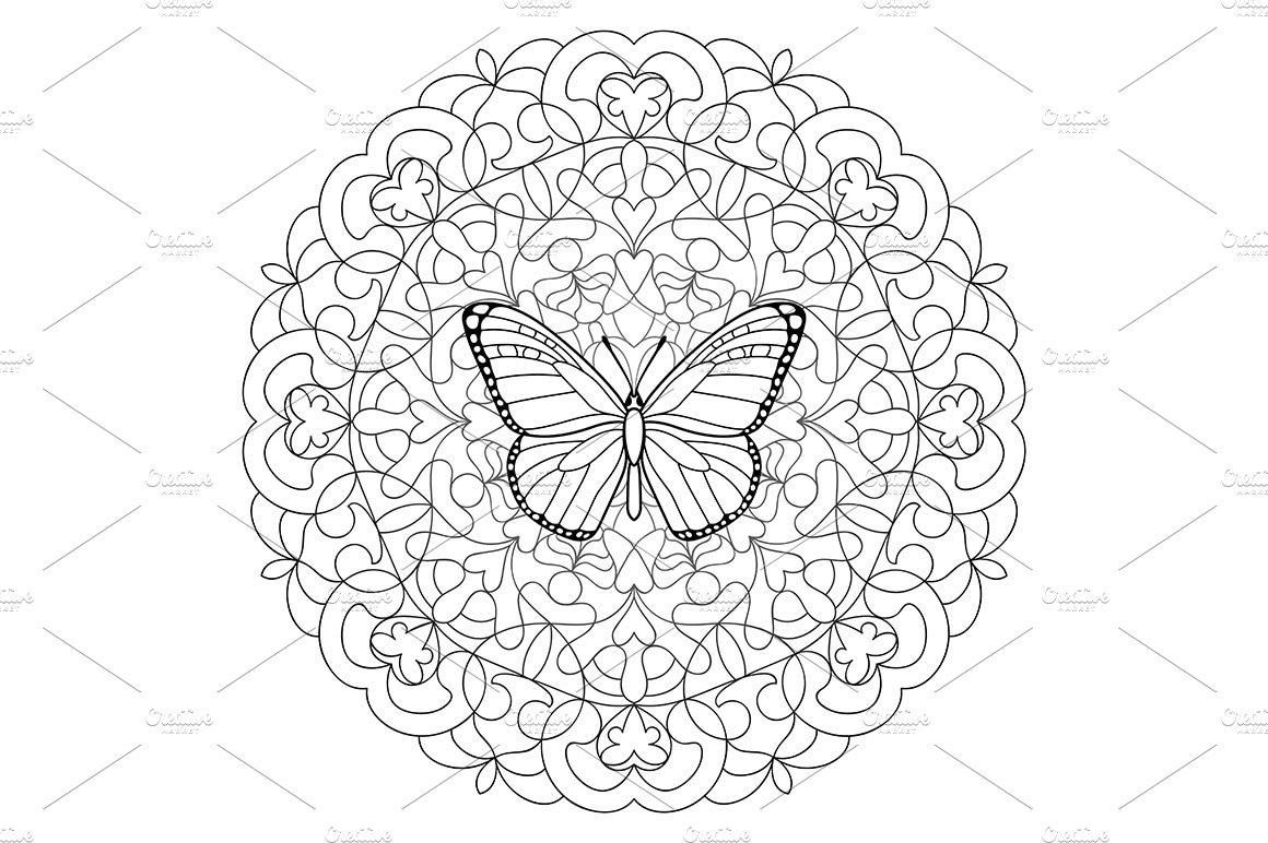 Butterfly Mandala Coloring Page ~ Graphic Objects