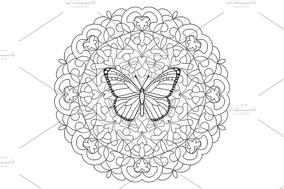 Butterfly Mandala Coloring Page ~ Objects ~ Creative Market