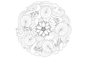 Lotus and fishes coloring page