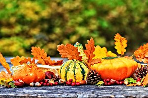 Autumn pumpkins on picnic table