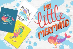 My little mermaid-clipart set