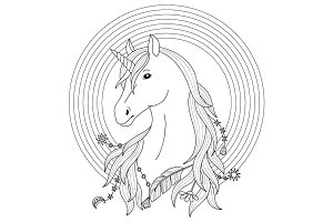 Unicorn Tattoo with Rainbow