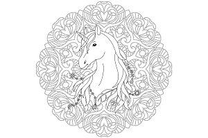 Unicorn Tattoo Coloring Page