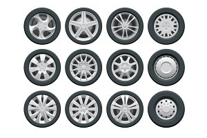 Vector car wheels set for design Auto service shop. Rims flat collection on white background.
