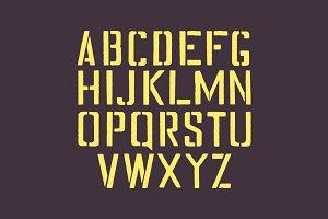Stencil english alphabet.