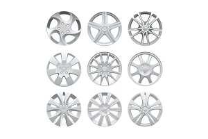 Close up of rims car alloy wheel. Aluminum wheel vector set. Figured alloy rim for car, tracks.