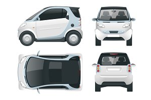 Vector compact small car. Small Compact Hybrid Vehicle. Eco-friendly hi-tech auto. Easy color change. Template vector isolated on white View front, rear, side, top
