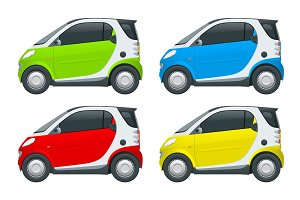 Vector compact small car. Small Compact Hybrid Vehicle. Eco-friendly hi-tech auto. Easy color change. Template vector isolated on white View side