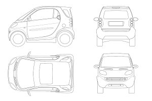 Vector compact small car in outline. Small Compact Hybrid Vehicle. Eco-friendly hi-tech auto. Easy to change the thickness of the lines. Template vector isolated on white View front, rear, side, top