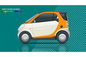 Vector compact small car. Small Compact Hybrid Vehicle. Eco-friendly hi-tech auto. Easy color change. Template vector isolated on transparent. View side