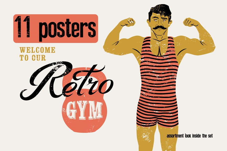 2b51d31a31e671 Retro Gym posters. Strong man. ~ Illustrations ~ Creative Market