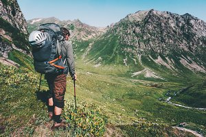 Man hiking at mountains