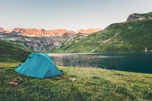 Tent camping at sunset Mountains