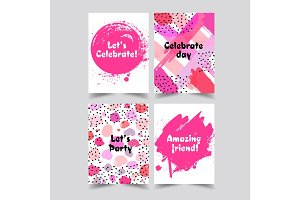 Set of creative universal cards. Hand Drawn textures. Wedding, anniversary, birthday, Valentine s day, party. Design for banner, poster, card, invitation, brochure, flyer. Vector.