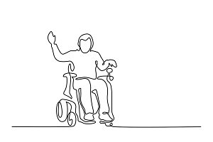 Disabled man on electric wheelchair