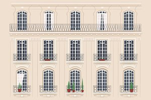 Set of 12 different building facades