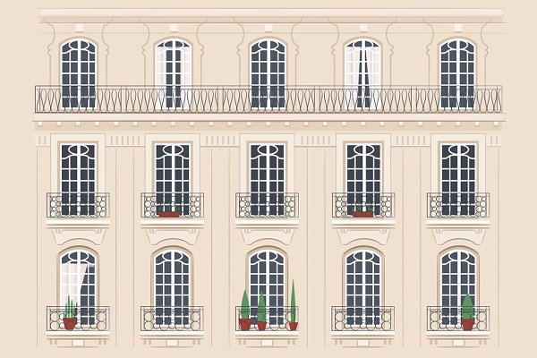 Set of 12 different building facade…
