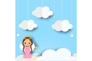 Cute angel on clouds background