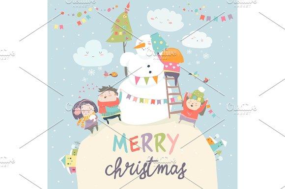 Happy children celebrating Christmas