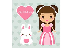 Cute princess with bunny