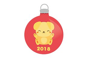 2018 new year yellow dog bauble icon