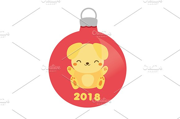 2018 new year yellow dog bauble icon icons