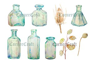 Watercolor Vintage Bottle Dry Flower