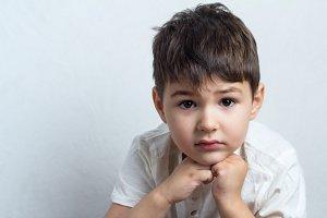 pensive boy close-up