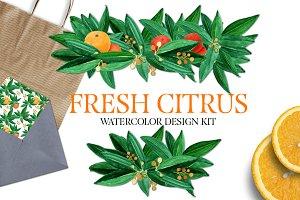 Fresh Citrus Watercolor Design Kit