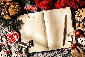 Rustic composition of Christmas book