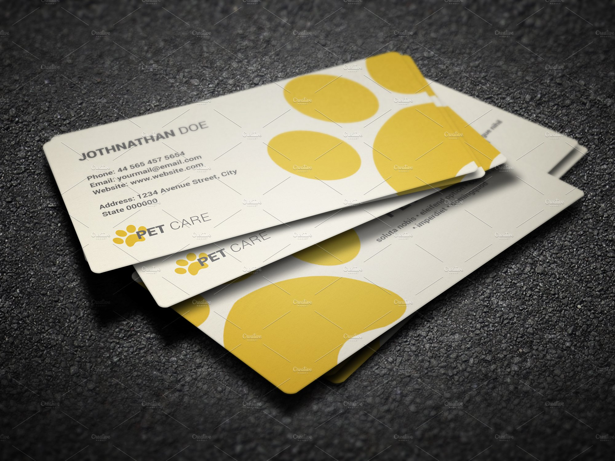 Pet care business card business card templates creative market colourmoves