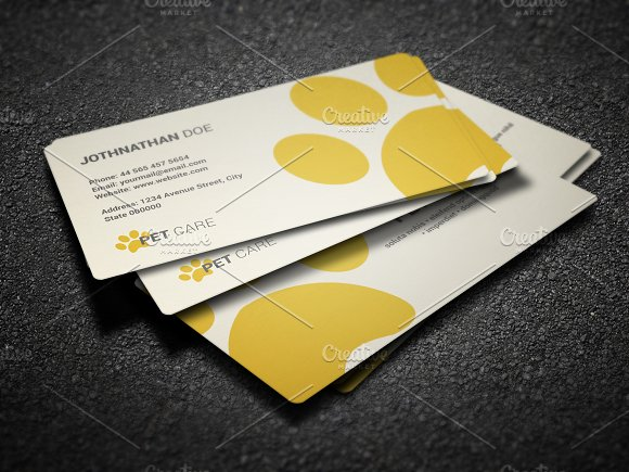Pet care business card business card templates for Pet business cards
