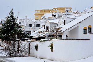 White snowy houses