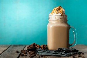 Tasty coffee drink shake with cream