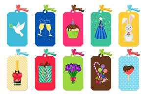 Party colorful tags set