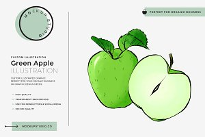 Green Apple Custom Illustration