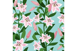 Pink lilies with leaves floral pattern