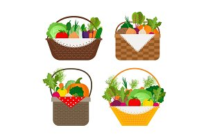 Vegetables in baskets set