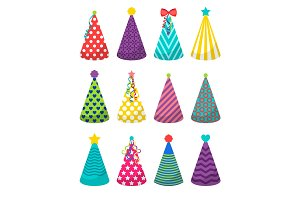 Colorful party hats set