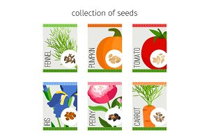 Seeds collection of flowers and vegetables