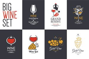 7 Wine logo, label design