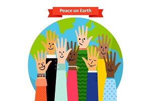 Peace concept peoples hands raised
