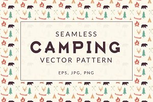 Seamless Retro Camping Pattern