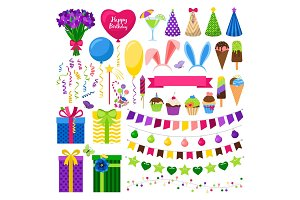 Party colorful icons set