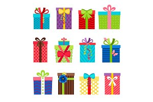 Colorful gift boxes with ribbons set
