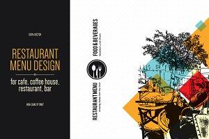 Restaurant menu design with a sketch