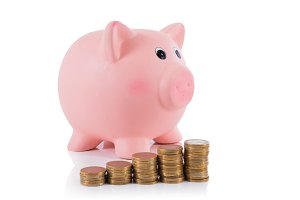 pig piggy bank with euro coins
